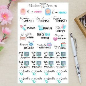 Sticker Dream - Cartela Cuidados na Gravidez