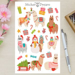 Sticker Dream - Cartela Alpacas Natalinas