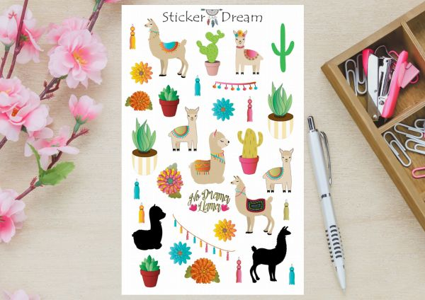 Sticker Dream - Cartela Lhamas