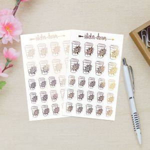 Sticker Dream - Cartela Foil Copo Florido