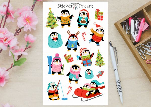 Sticker Dream - Cartela Penguins no Natal
