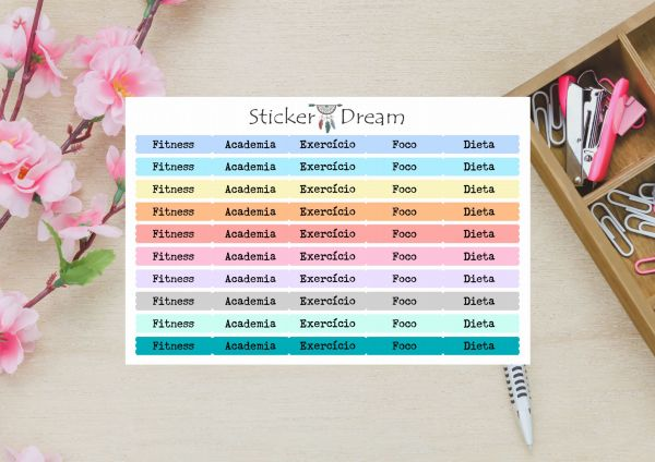 Sticker Dream - Cartela Super Funcional Fitness