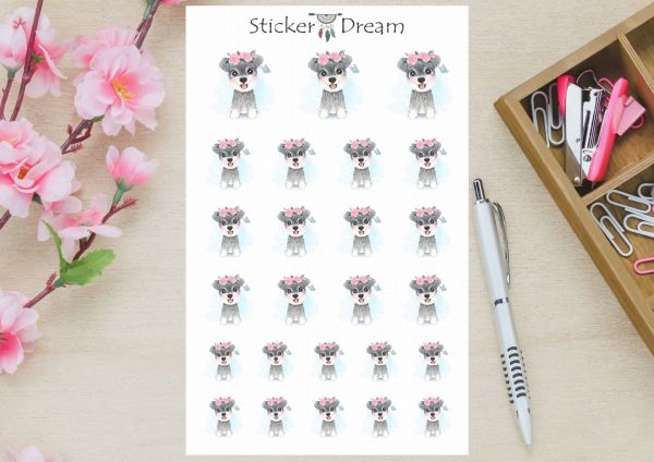 Sticker Dream - Cartela Cute Schnauzer