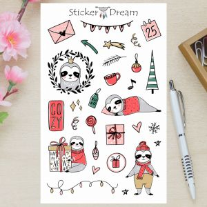 Sticker Dream - Cartela Bicho Preguiça no Natal