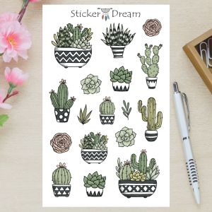 Sticker Dream - Cartela Cactos e Suculentas