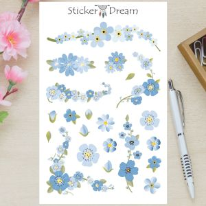 Sticker Dream - Cartela Flores Azuis