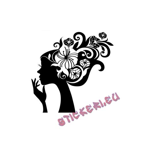 Стикер жена с цветя - 1 - Stickeri.eu