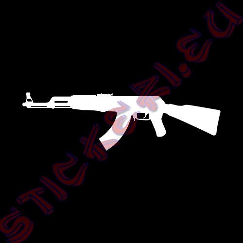Стикер Калашников АК-47 бял