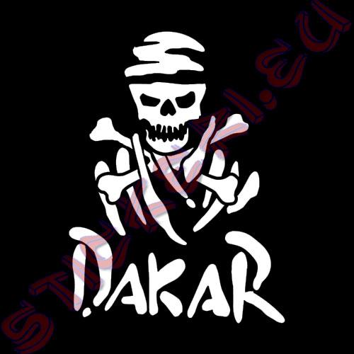 Стикер Off Road Dakar череп бял