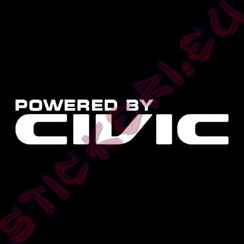 Стикер за автомобили Powered by Civic бял