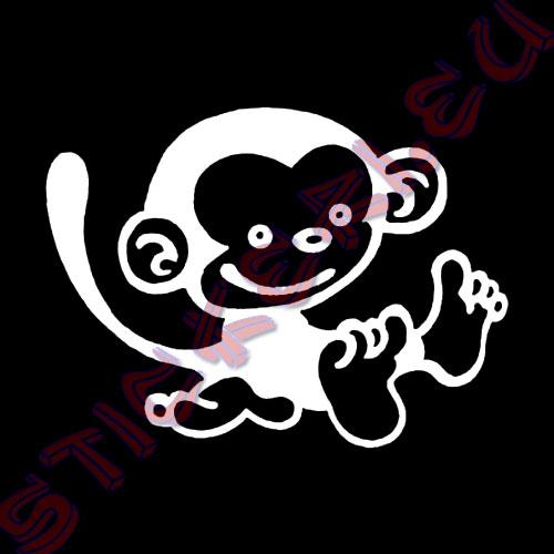 Стикер за декорация маймуна, бял