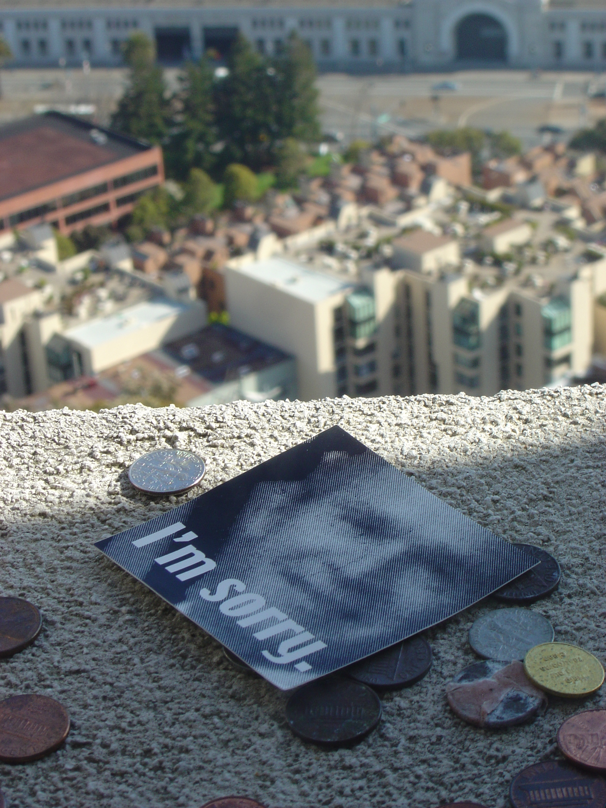 How did that sticker end up on the ledge of the Coit Tower?