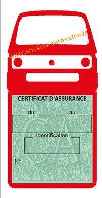 Autocollant voiture vintage porte étui pochette assurance combi T3VW rouge.