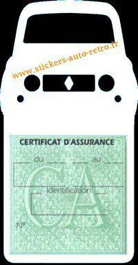 Stickers porte vignette assurance auto Renault 4L rétro couleur blanche