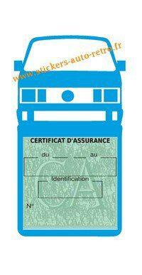 Etui vignette assurance T4 Volkswagen bleu clair le support pochette certificat voiture.