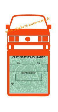 Etui vignette assurance T4 Volkswagen orange le support pochette certificat voiture.
