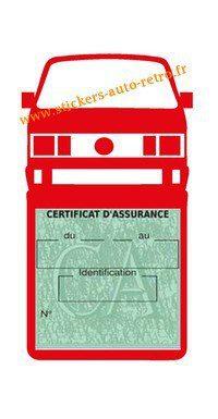 Etui vignette assurance T4 Volkswagen rouge  le support pochette certificat voiture.