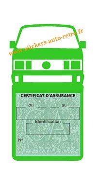 Etui vignette assurance T4 Volkswagen vert clair le support pochette certificat voiture.