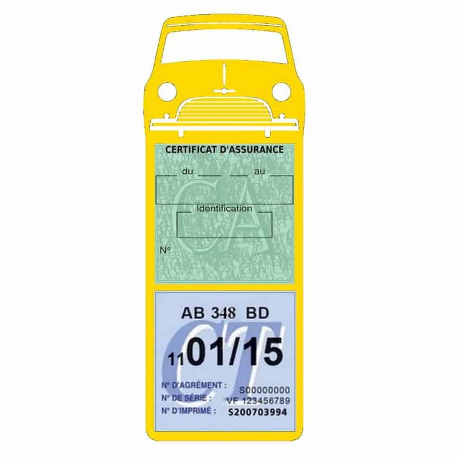 Mini Cooper Austin 1000 vignette assurance voiture jaune