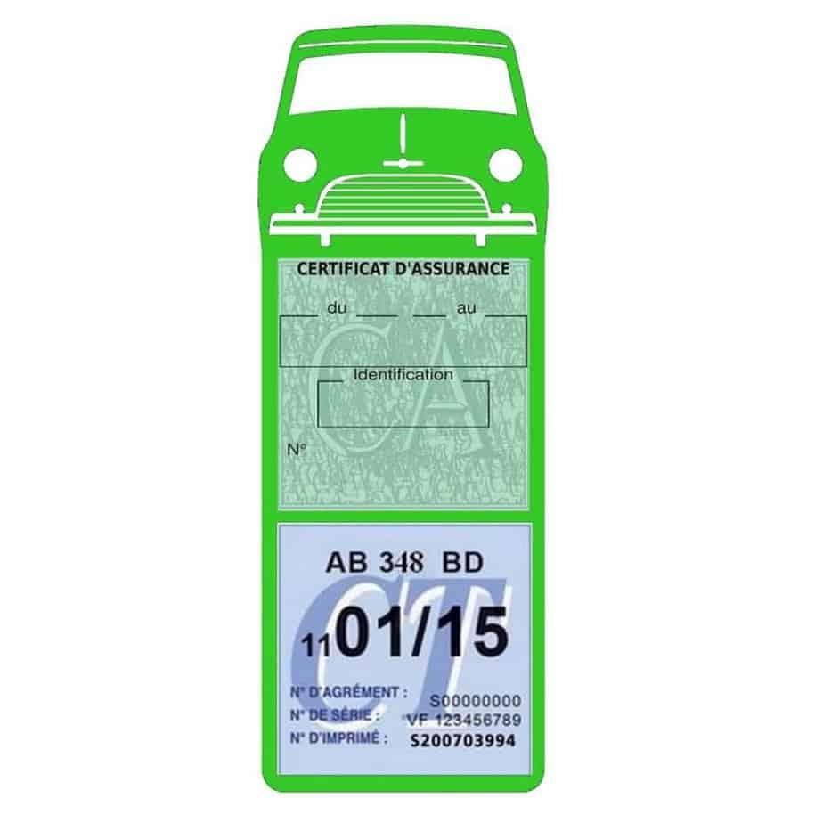 Mini Cooper Austin 1000 vignette assurance voiture vert clair