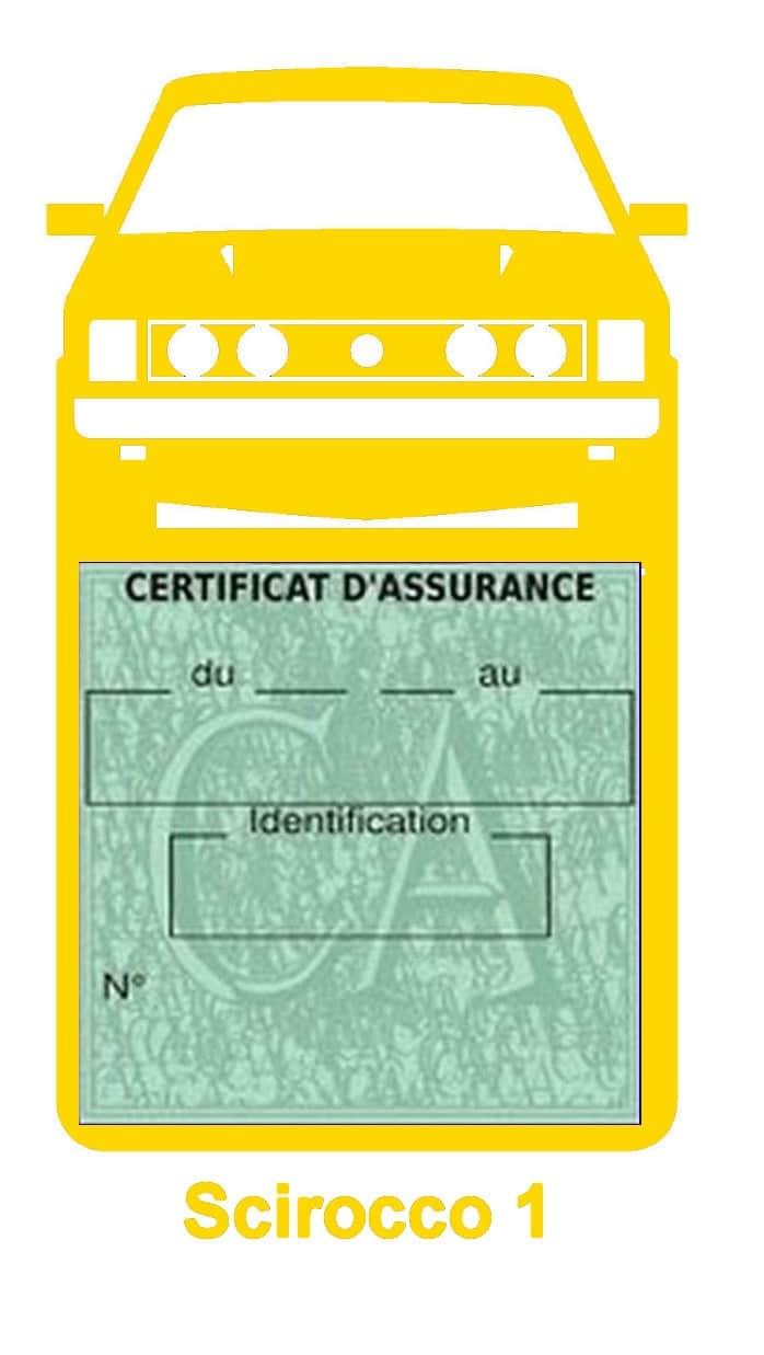 Porte vignette assurance auto Volkswagen Scirocco 1 couleur jaune.
