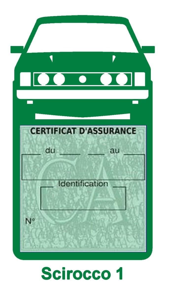 Porte vignette assurance auto Volkswagen Sirocco 1 couleur vert foncé