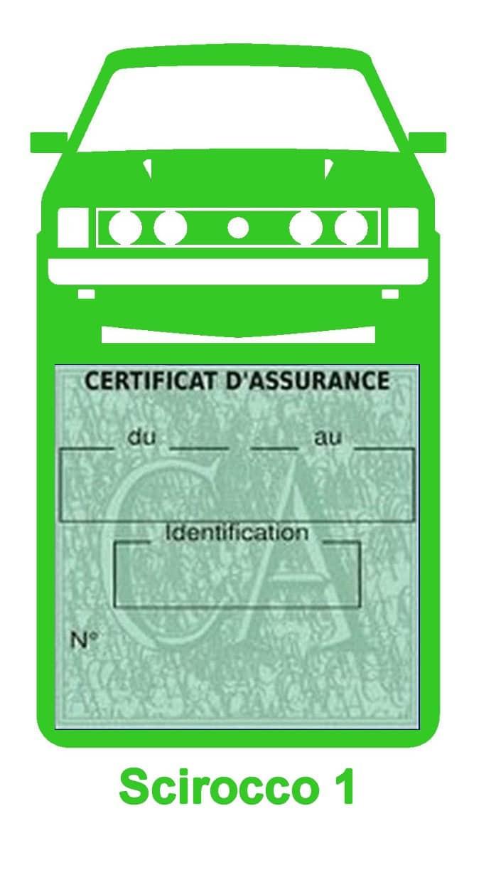 Porte vignette assurance auto Volkswagen Sirocco 1 couleur vert clair.