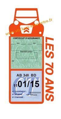 Les 70 Ans 2CV autocollant Stickers porte méga vignette assurance voiture Citroën orange rétro-mobile