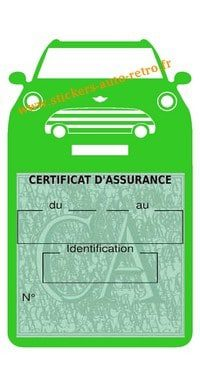 Pochette assurance Mini Cooper S BMW vert claire vignette verte pour pare-brise de voiture