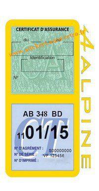 Stickers auto rétro support double étui vignette assurance verte et contrôle technique Alpine Renault jaune voiture sportif.