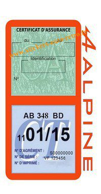 Stickers auto rétro support double étui vignette assurance verte et contrôle technique Alpine Renault orange voiture sportif.