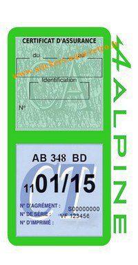 Stickers auto rétro support double étui vignette assurance verte et contrôle technique Alpine Renault vert clair voiture sportif.