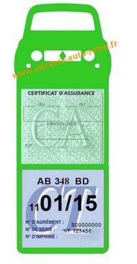 Support vignette verte assurance et contrôle technique voiture R4L Renault couleur vert clair.
