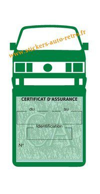 Etui vignette assurance T4 Volkswagen vert foncé le support pochette certificat voiture.
