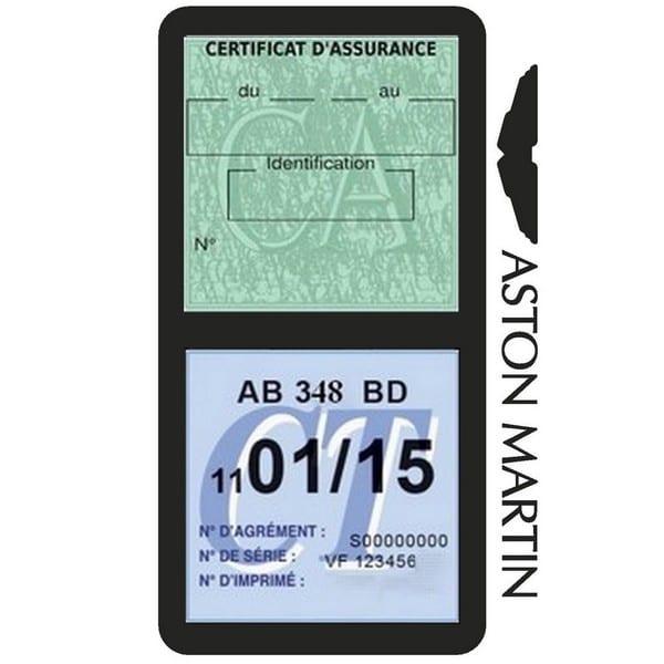 Etui vignette assurance ASTON MARTIN pochette voiture
