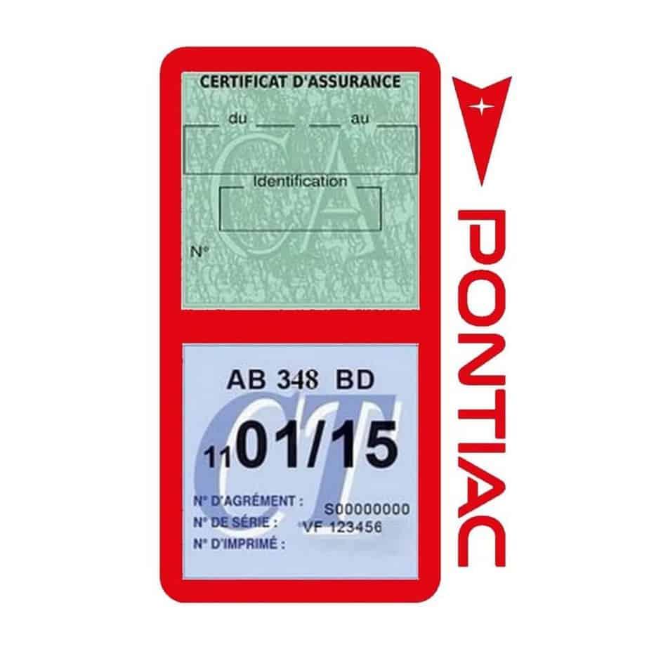 PONTIAC étui vignette assurance voiture rouge
