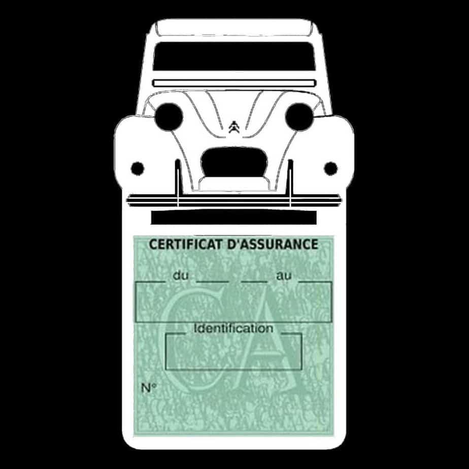 2CV Citroën vignette assurance voiture blanc