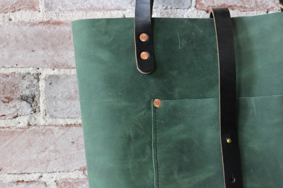 sticks and bricks green spruce charlie tote by zoe johnson