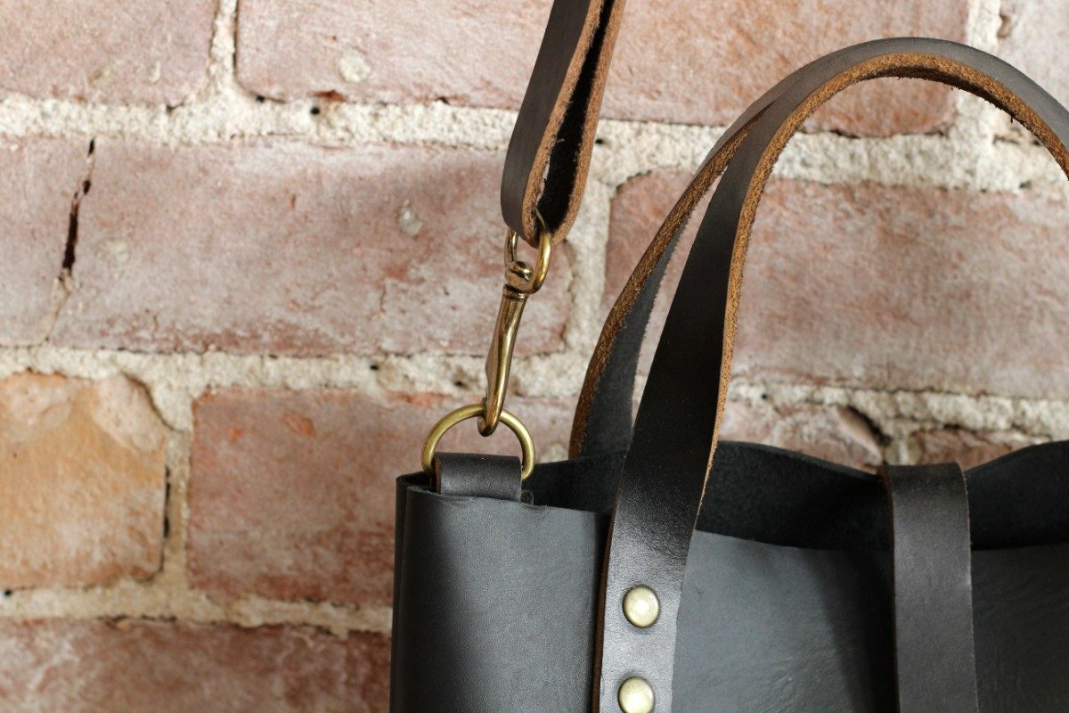 matte black cross body bucket bag by zoe johnson handmade