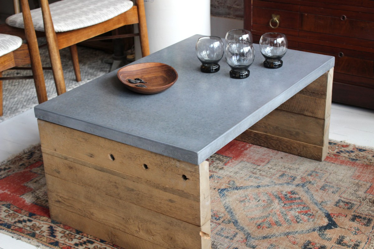 sticks and bricks custom furntiure, concrete coffee table