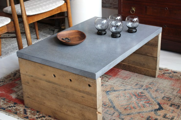 sticks and bricks custom furntiure, concrete coffee table
