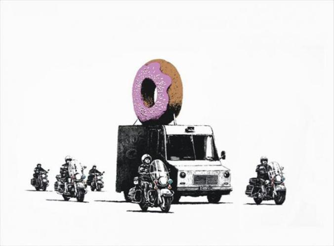 banksy, stick together gallery, strawberry donuts