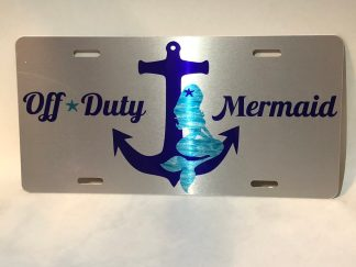 Off Duty Mermaid (purple) Silver License Plate