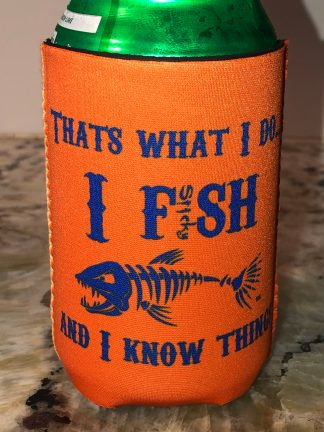 I Fish and I Know Things Can Hugger (orange/royal)