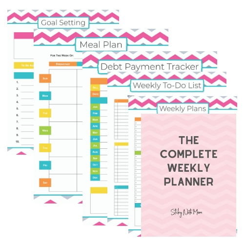 Printable Pages of Complete Weekly Planner