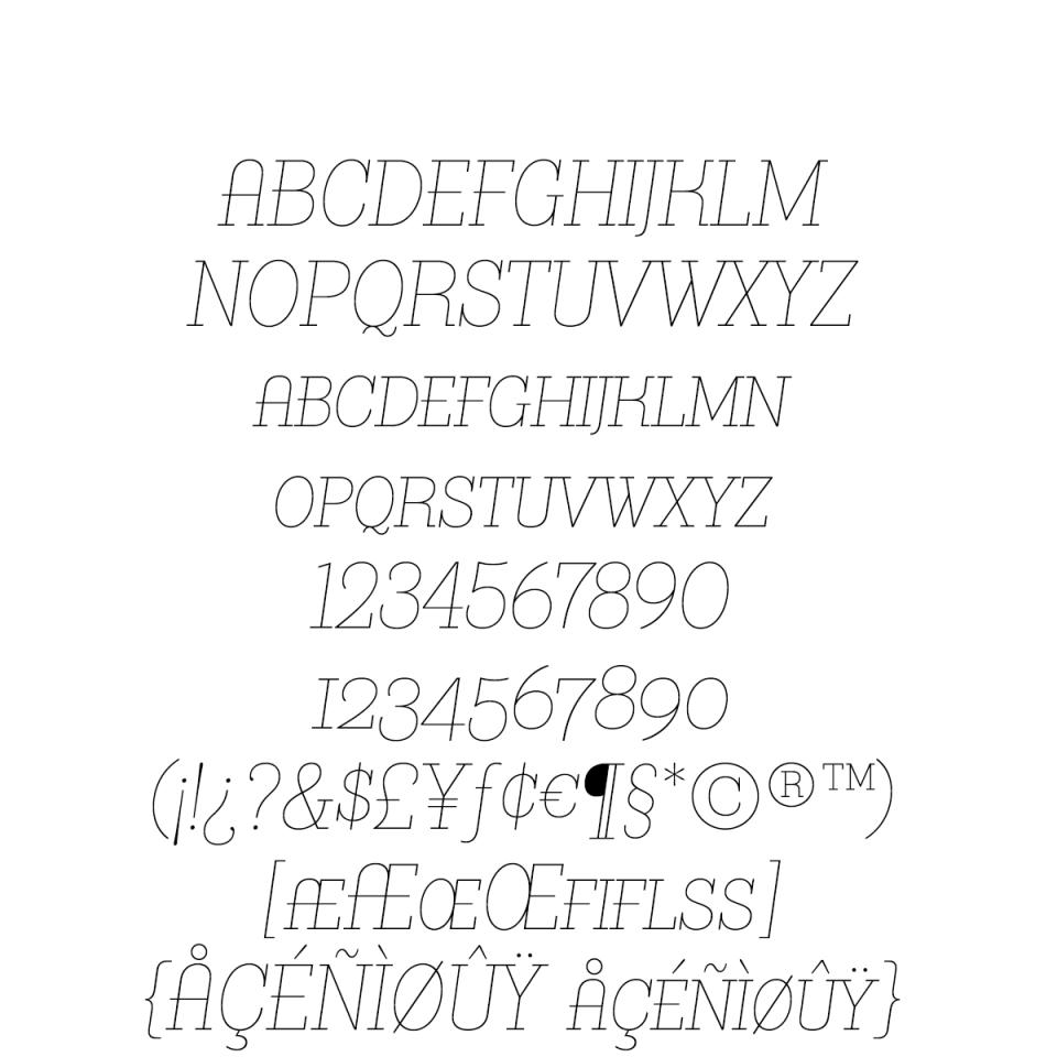 Bazaruto Text Monoline Oblique sample character set