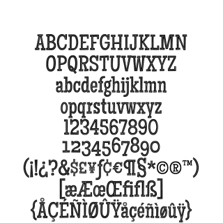 Maiden Orange Inline Pro sample character set