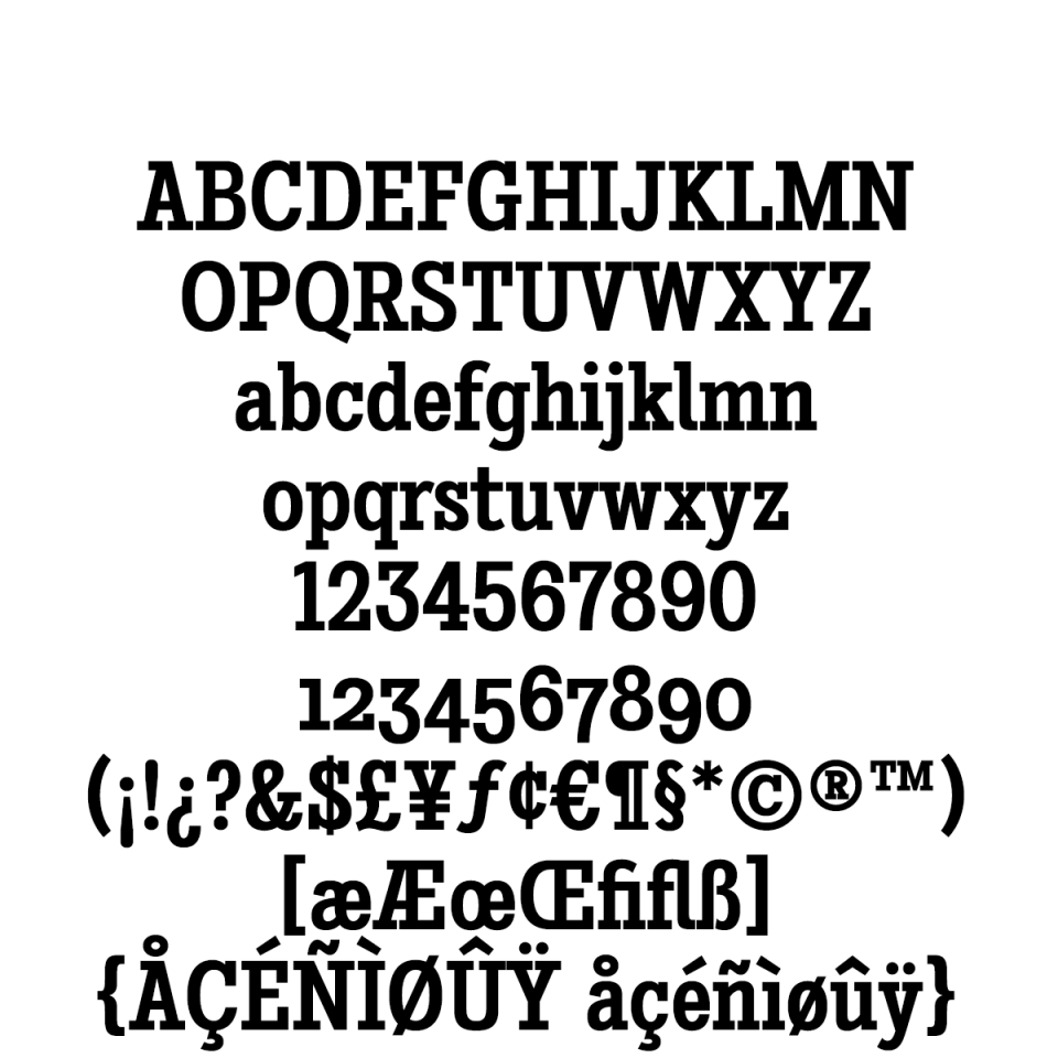Stint Condensed Pro Bold sample character set