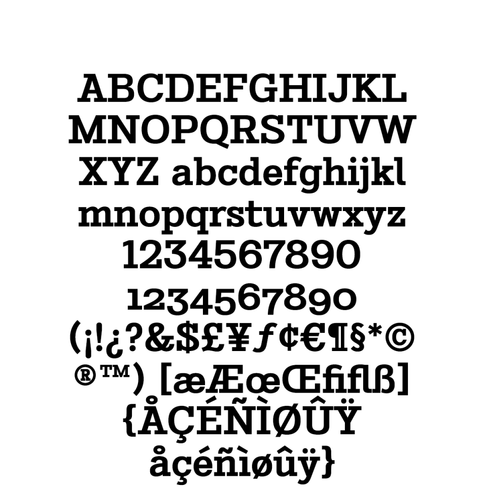 Stint Pro Bold sample character set
