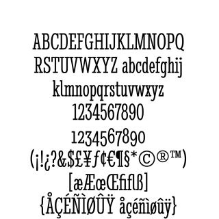 Stint Ultra Condensed Pro Book sample character set